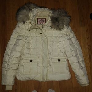 White/cream juicy couture puffer jacket